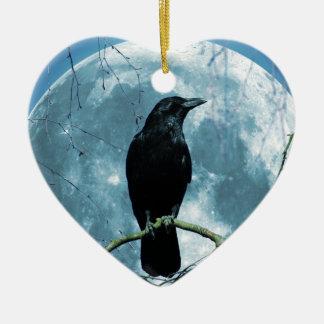 Crow Raven Moon Night Gothic Fantasy Stunning Ceramic Heart Decoration