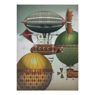 Crowded Skies Travel Traffic Steampunk Airships Poster