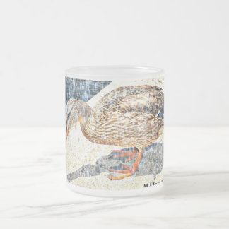 Crown King Duck in Cartoon Frosted Glass Mug