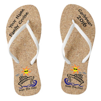 Cruise Flip Flops Adult Slim Straps Seas the Day! Thongs