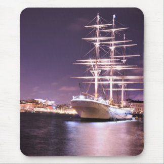Cruise ship at night in Stockholm, Sweden Mouse Pad