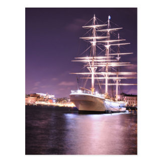 Cruise ship at night in Stockholm, Sweden Postcard