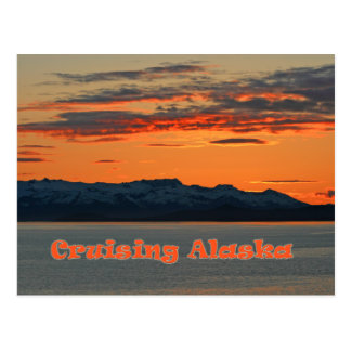 Cruising Alaska / Vivid Orange Sunset Post Card