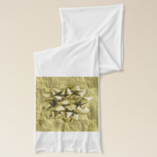 Crumpled Gold Foil Christmas Paper and Bow Scarf