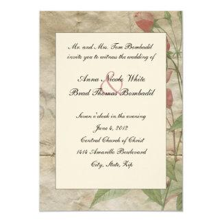 "Crumpled Victorian Rose Wedding Invitation 5"" X 7"" Invitation Card"