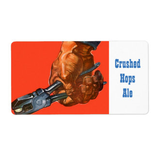 Crushed Hops Pliers Home Brewing Beer Bottle Label Shipping Label