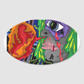 Crying Blood Psychedellic Oval Sticker
