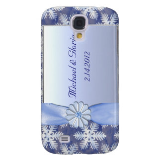 Crystal Blue Snowflake Celebration Galaxy S4 Case