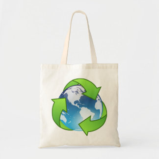Crystal earth globe recycle icon tote bag