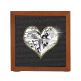 crystal heart, love jewel desk organiser