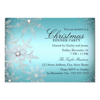 Crystal Snowflake Blue Christmas Dinner Party 13 Cm X 18 Cm Invitation Card