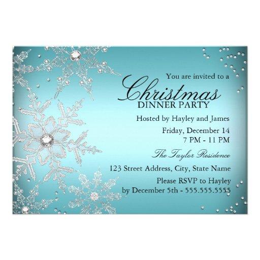 Crystal Snowflake Blue Christmas Dinner Party Custom Invite