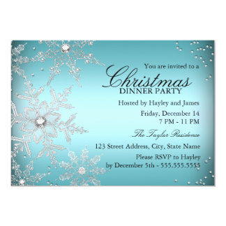 "Crystal Snowflake Blue Christmas Dinner Party 5"" X 7"" Invitation Card"