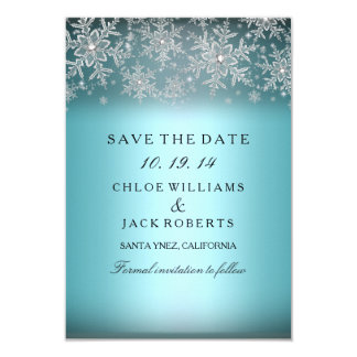 Crystal Snowflake Blue Winter Save The Date 9 Cm X 13 Cm Invitation Card