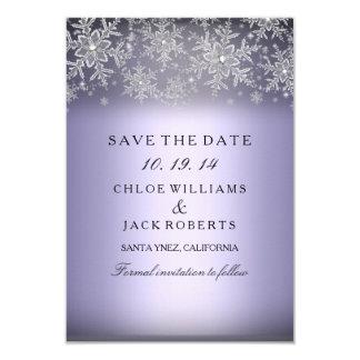 Crystal Snowflake Purple Winter Save The Date 9 Cm X 13 Cm Invitation Card