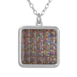 Crystal Stone Tile work Egyptian Museum New York Square Pendant Necklace