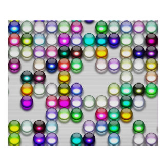 Crystals Art Random Colors Balls 12 x 10 Poster