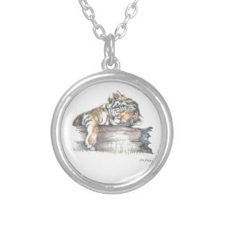 Cub sleeping round pendant necklace