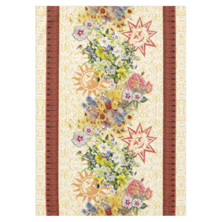 Cucamonga Floral Suns Table Cloth Maroon and Gold Tablecloth