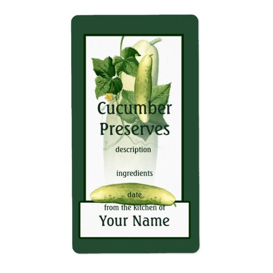 Cucumber Preserves Label Shipping Label