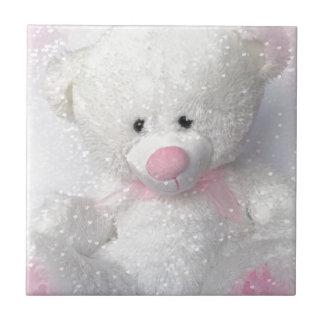 Cuddly White Teddy Bear Tile