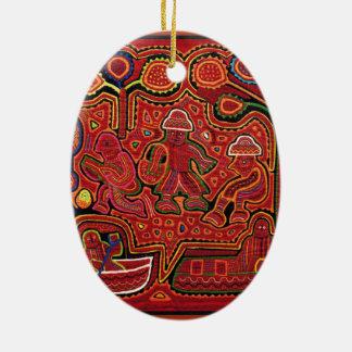 Cuna Indian Men in Cayucos Ceramic Oval Decoration