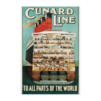 Cunard Line Vintage travel poster Acrylic Wall Art