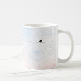 Cup in tender tones with small bird basic white mug
