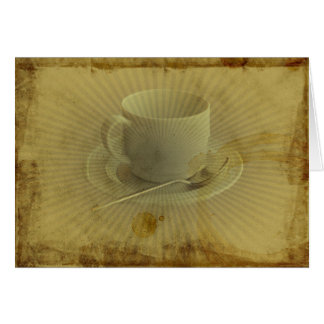 Cup of Coffee Invitation Grunge Old Fashion Greeting Card