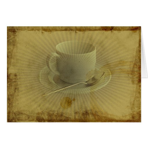 Cup of Coffee Invitation Grunge Old Fashion Cards