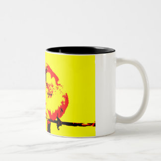 Cup with bird on wire and french text