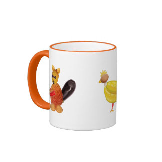 cup with three cute vegetable animals ringer mug