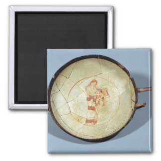 Cup without foot, standing Muse playing the lyre, Square Magnet