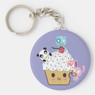 Cupcake Attack! (>_<) Basic Round Button Key Ring