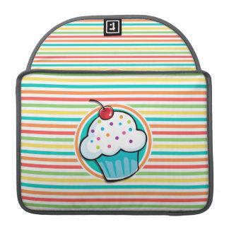 Cupcake; Bright Rainbow Stripes Sleeve For MacBook Pro
