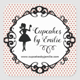 Cupcake Girl Silhouette Packaging Stickers