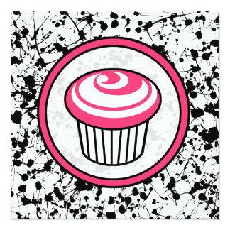 Cupcake Invitation - Black Paint Splatter