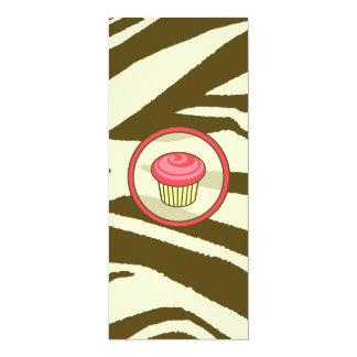 Cupcake Invitation - Brown Zebra Print Skinny