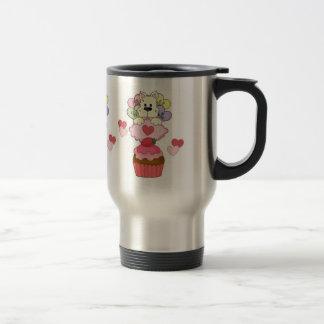Cupcake Puppy Valentines Stainless Steel Travel Mug