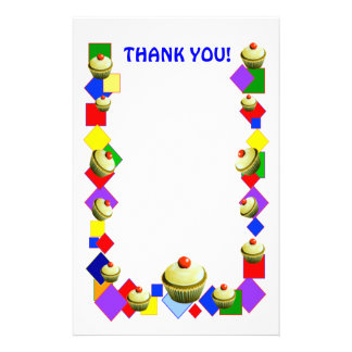 "CUPCAKE  ""Thank you!"" Stationary Stationery"