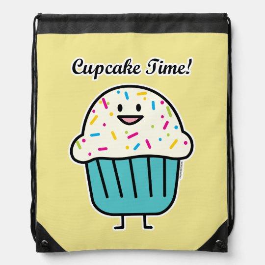Cupcake Time with sprinkles sweet dessert fondant Drawstring Bag