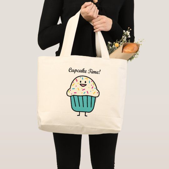 Cupcake Time with sprinkles sweet dessert fondant Large Tote Bag