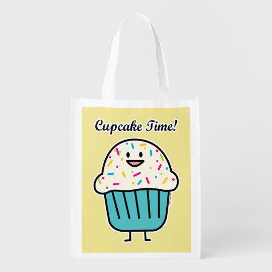 Cupcake Time with sprinkles sweet dessert fondant Reusable Grocery Bag