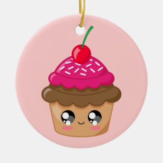 Cupcake with Cherry and Sprinkles Christmas Ornament