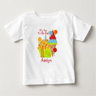 Cupcakes and Ice Cream Fun To Be One 1st Birthday Baby T-Shirt