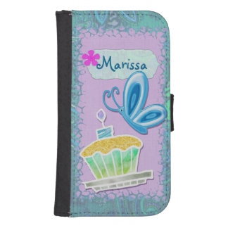 Cupcakes & Butterflies Whimsical Personalized Samsung S4 Wallet Case