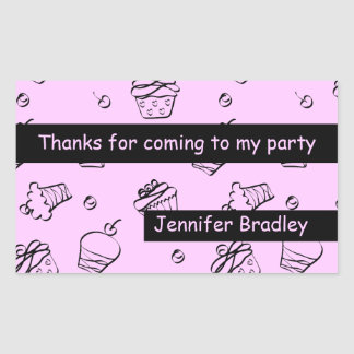 Cupcakes Outline Black Rectangular Sticker