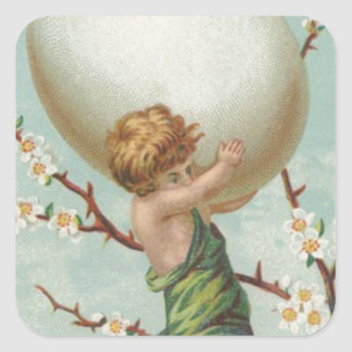 Cupid Easter Egg Dogwood Tree Square Sticker