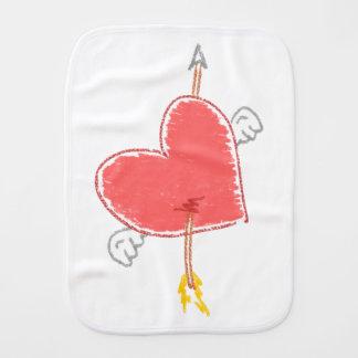 Cupid's Arrow Through Winged Heart Burp Cloth