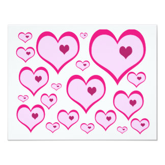 Cupids Hearts 11 Cm X 14 Cm Invitation Card